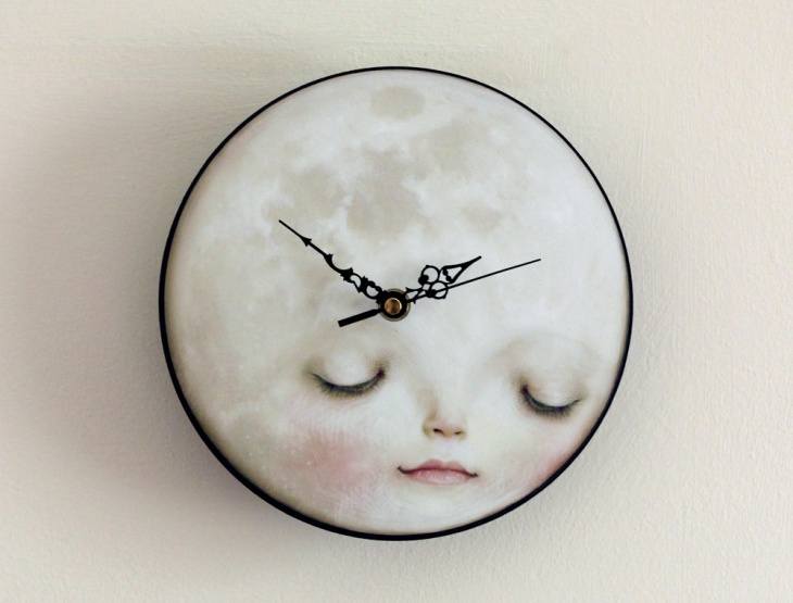 Handmade Full Moon Wall Clock Design