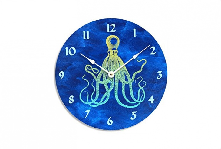 Blue Acrylic Painted Wall Clock Design