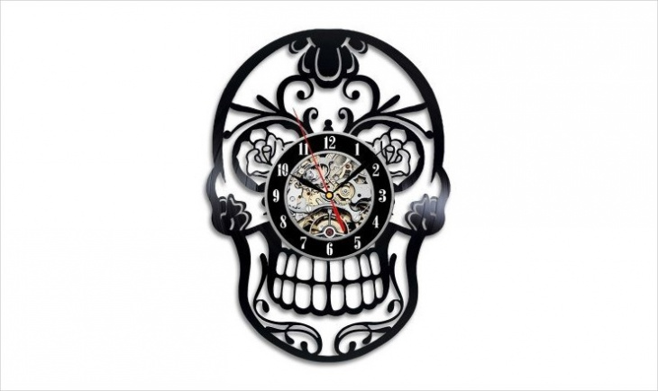 Handmade Skull Design Wall Clock