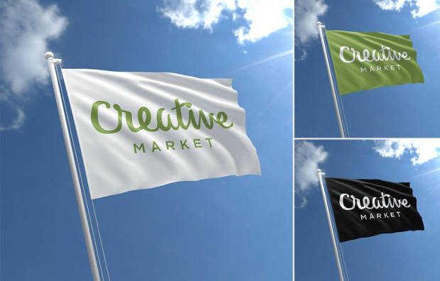 Fabric Flag Mockup