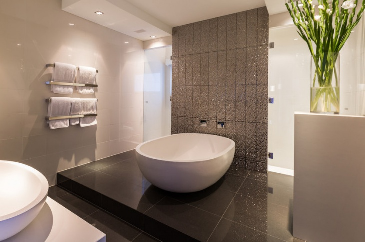 contemporary bathroom sparkle wall design