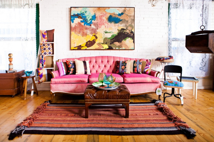 vintage pink sofa living room