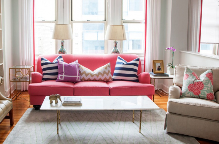 small pink sofa living room