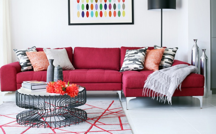 modern pink sofa for living room