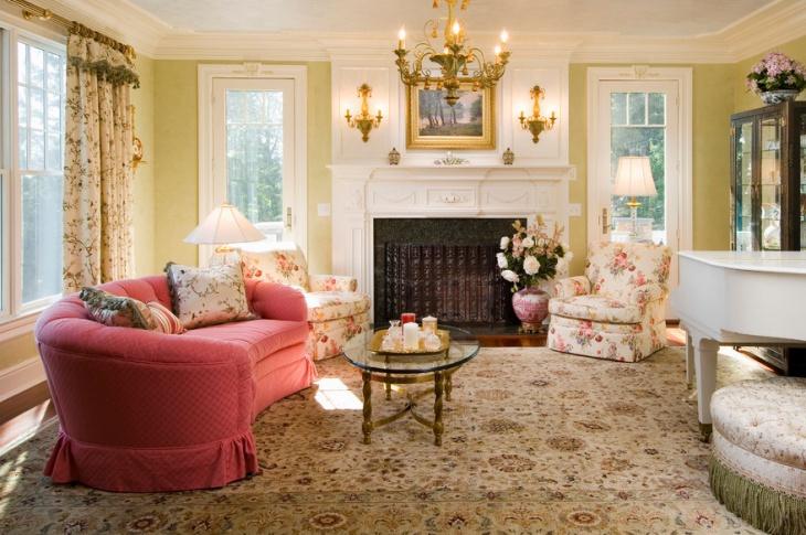 Retro Style Pink Sofa Design