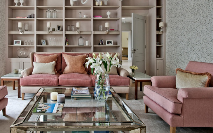 simple pink sofa living room
