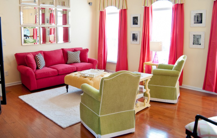 bright pink sofa living room design