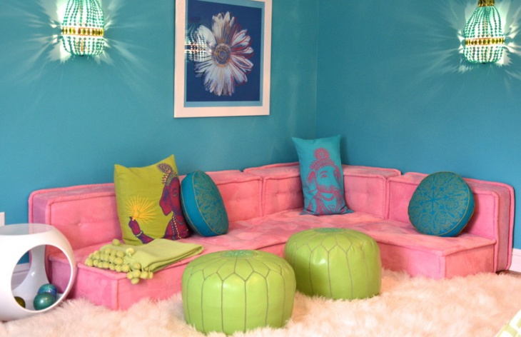 kids living room with pink sofa