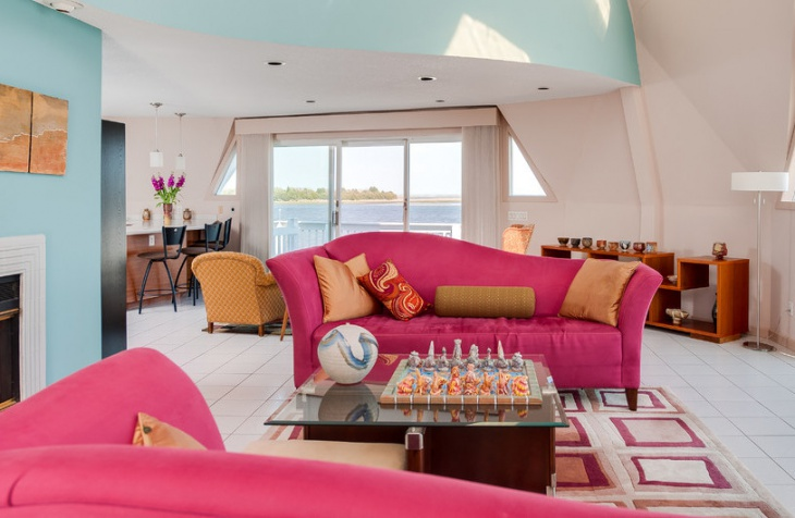awesome pink sofa living room idea