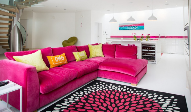 sectional pink sofa living room
