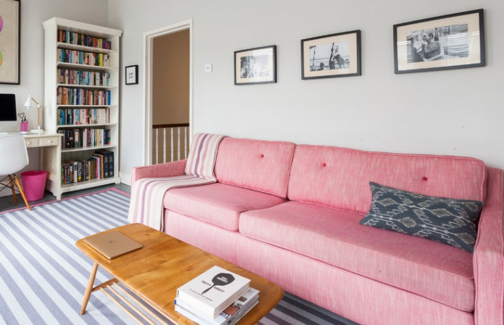 eclectic pink sofa living room design