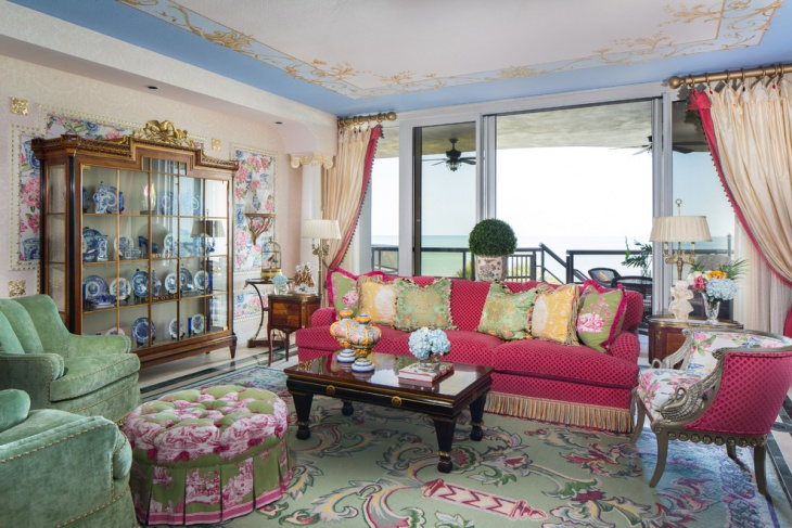 traditional pink sofa living room design