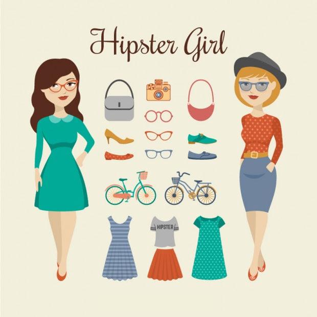 hipster girl vector