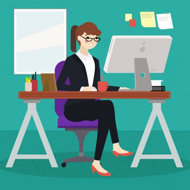 working girl vector