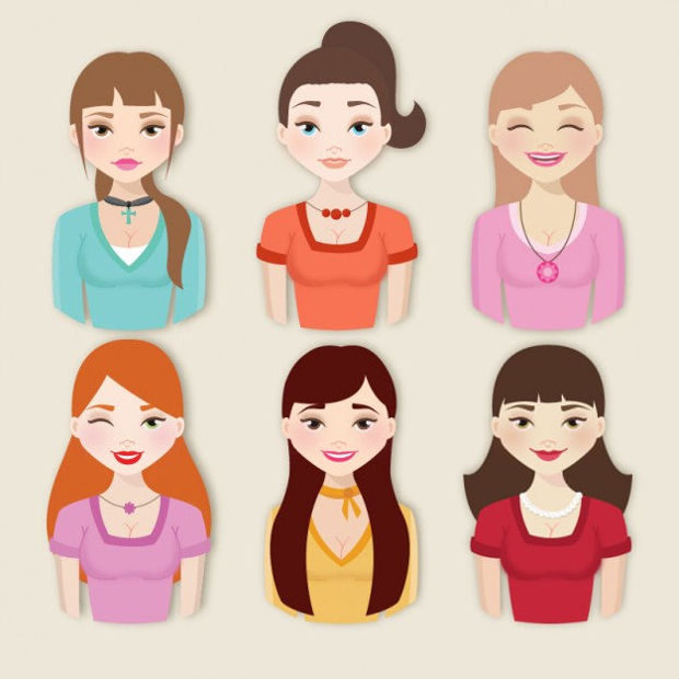 beautiful girls vector collection
