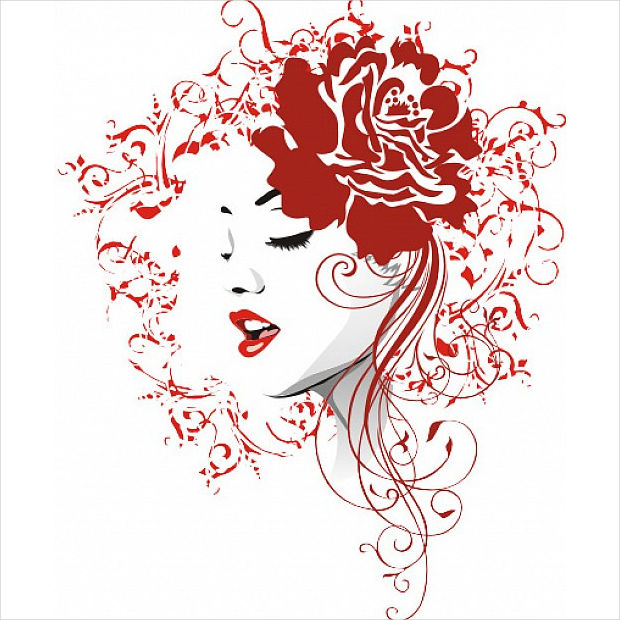 red rose with girl vector