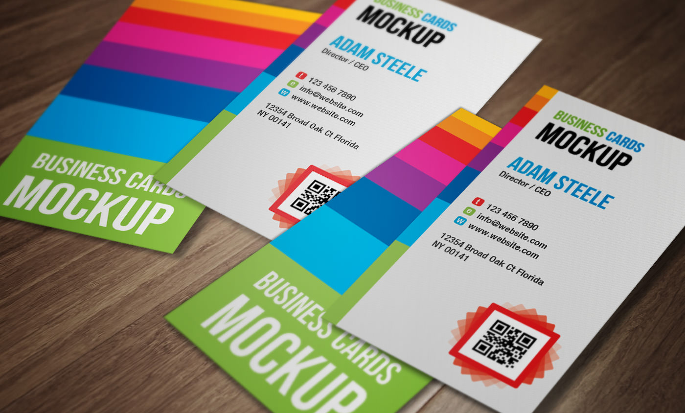 Verticla Business Card Mockup