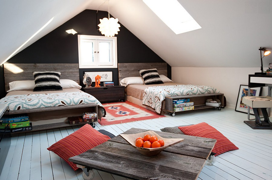 Attic kids Skylight Bedroom Design