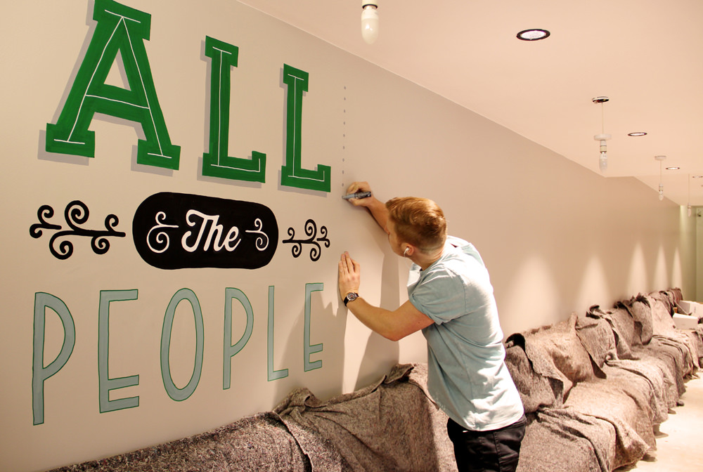 hall typographic wall design