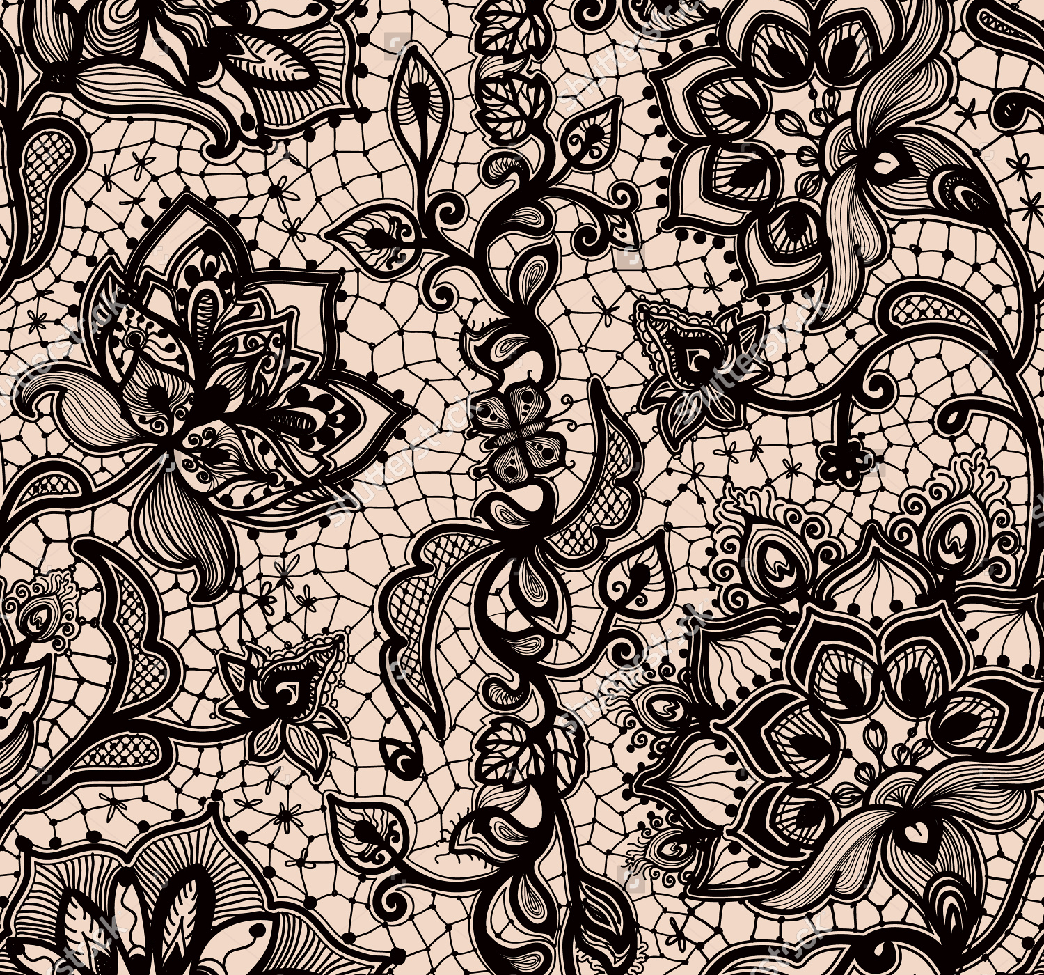 Seamless Black Lace Texture