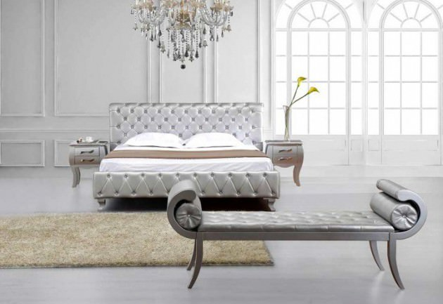 silver full bedroom design for royal look - Full Bedroom Designs