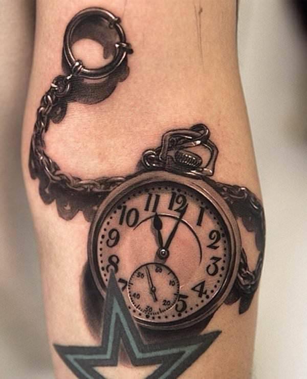 3d pocket watch tattoo design