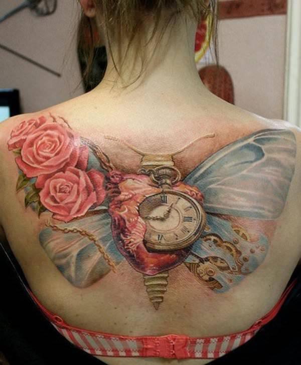 clock in heart watch tattoo design