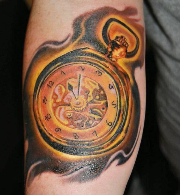 golden watch tattoo design
