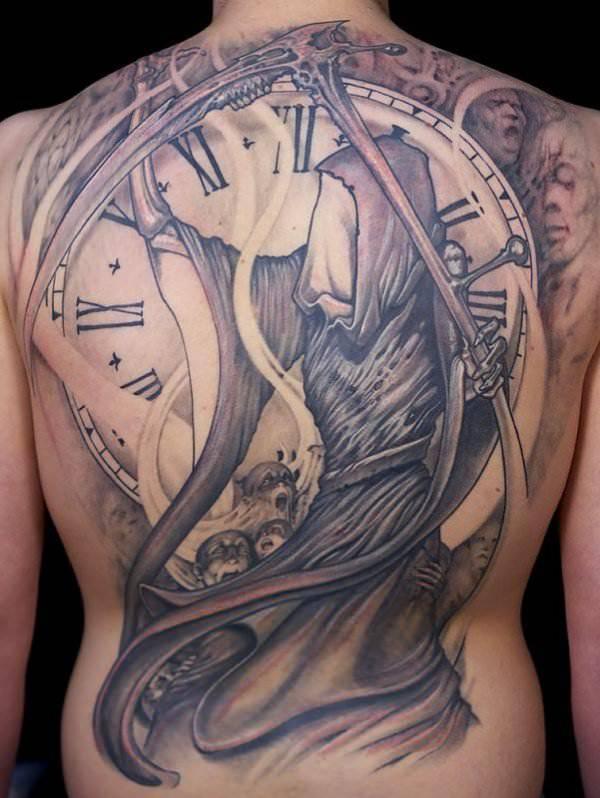 Grim Reaper Watch Tattoo Design