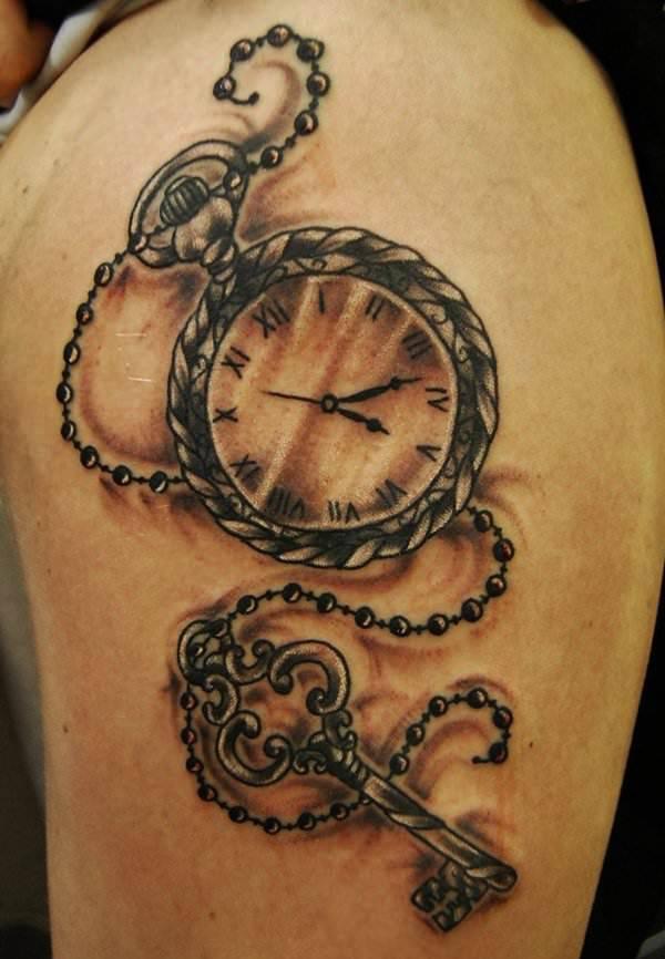 On Arm Watch Tattoo Design