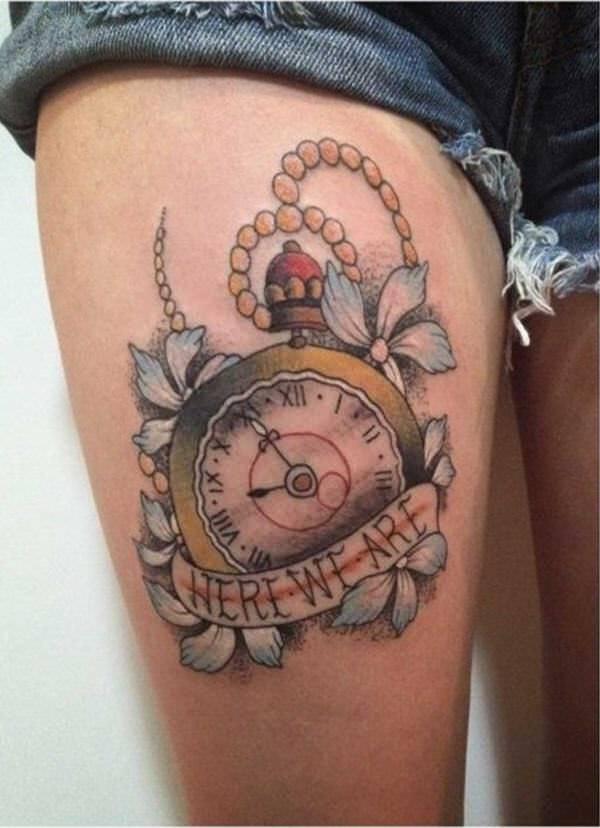 On Men Left Shoulder Watch Tattoo Design