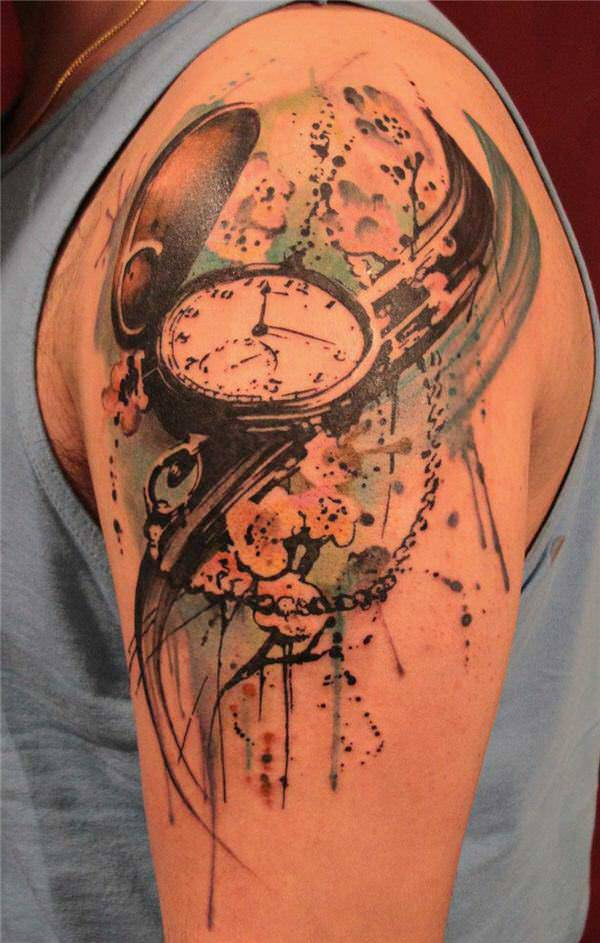 Swallow Watch Tattoo Design