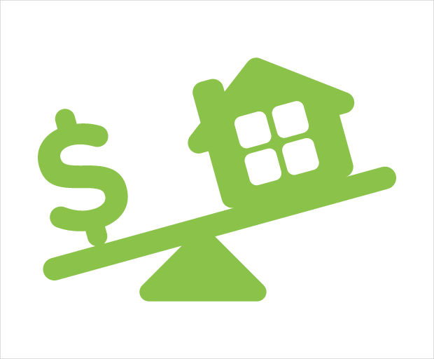 house and dollar sign in weighing scale icon