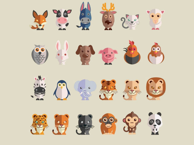 Flat Animal Vector Set