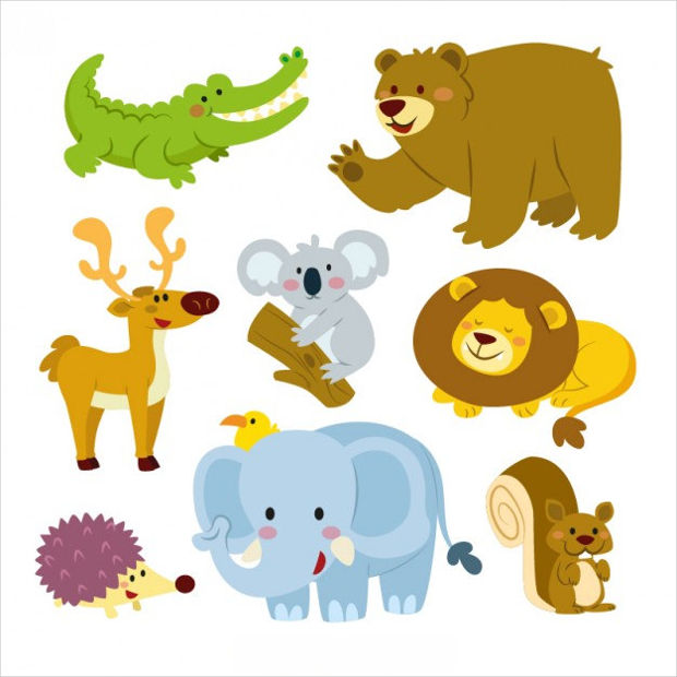 Cute Cartoon Animals Vector Set