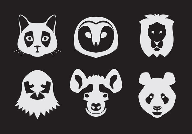 Vector Animal Portraits Set