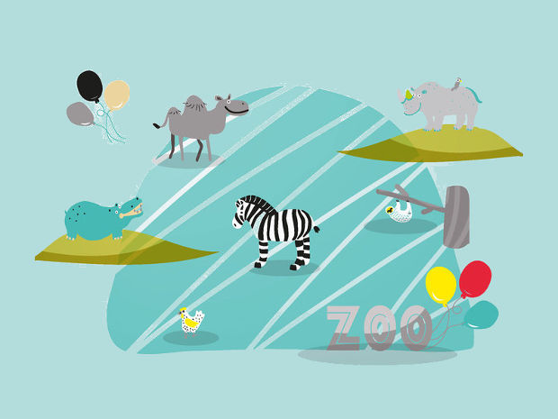 Zoo Animal Vector Set