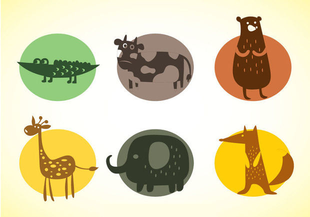 Funny Animal Icons Vector Set