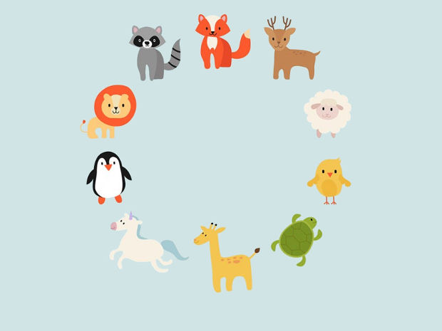 Cute Animal Circle Vector