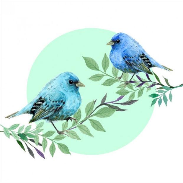 Watercolor Birds Vector