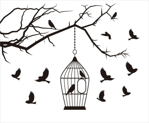 Birds and Cage Vector
