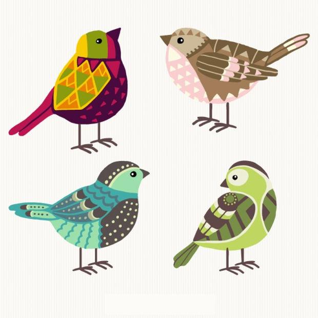 Geometric Birds Vector