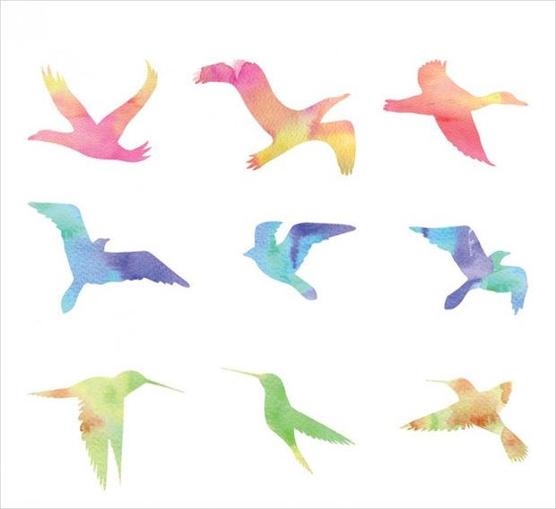 Watercolor Flying Birds Vector