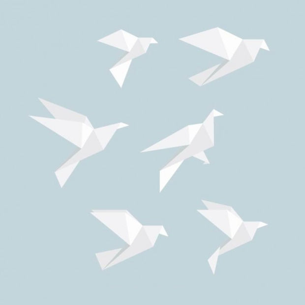 white origami birds vector