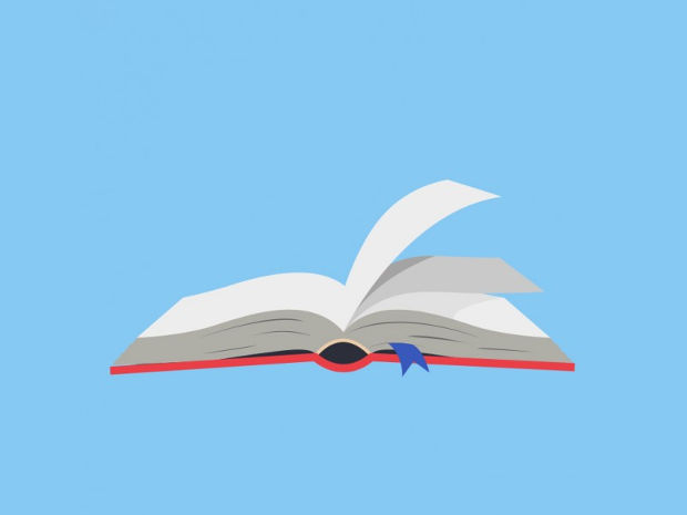 Open Book Vector with Blue Background