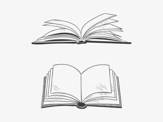 Hand Drawn Open Book Vector