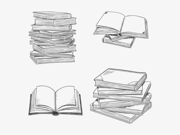 Simple Hand Drawn Books Vector