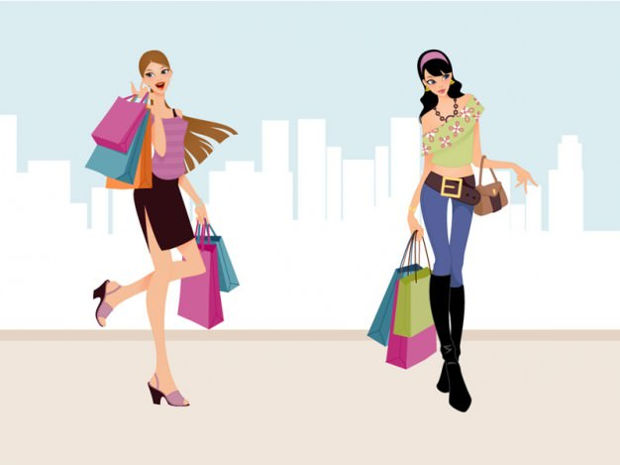 Shopping Girls Fashion Vector