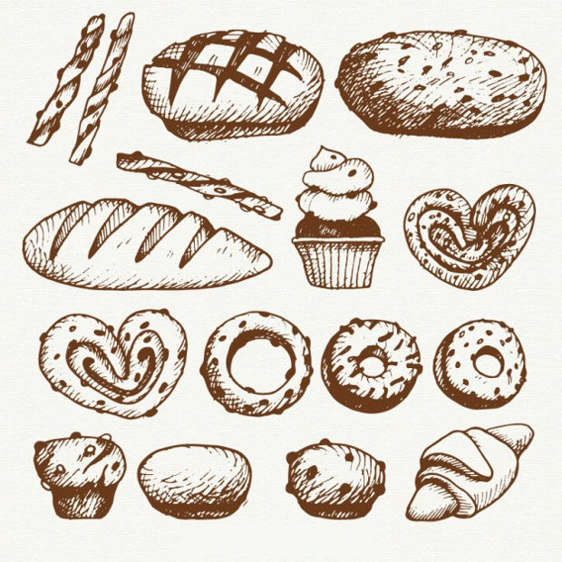 Sketchy Bakery Products Vector