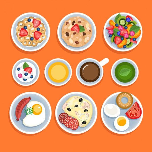 Variety of Breakfasts Vector